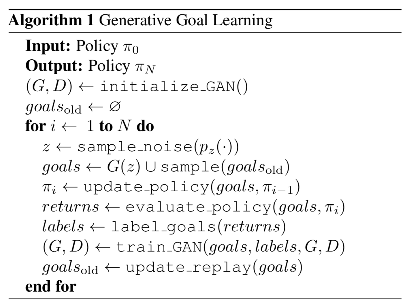 Generative goal learning