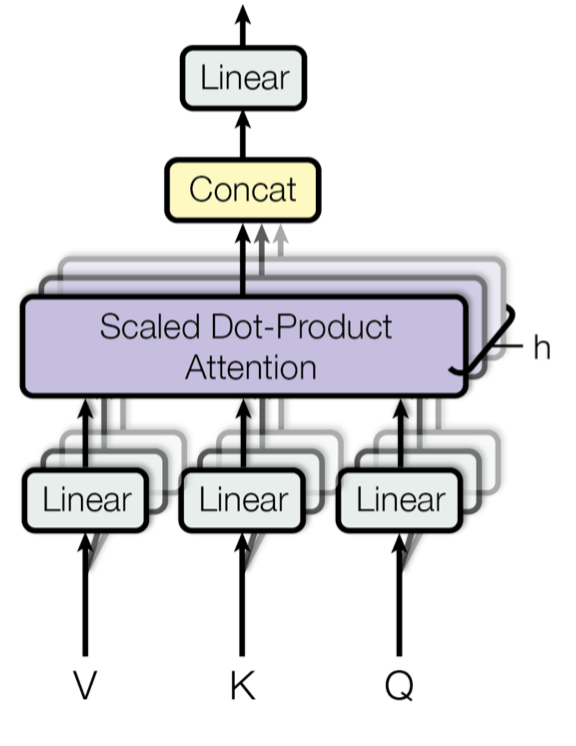 multi-head scaled dot-product attention